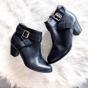 Vionic Trinity Black Leather Bootie